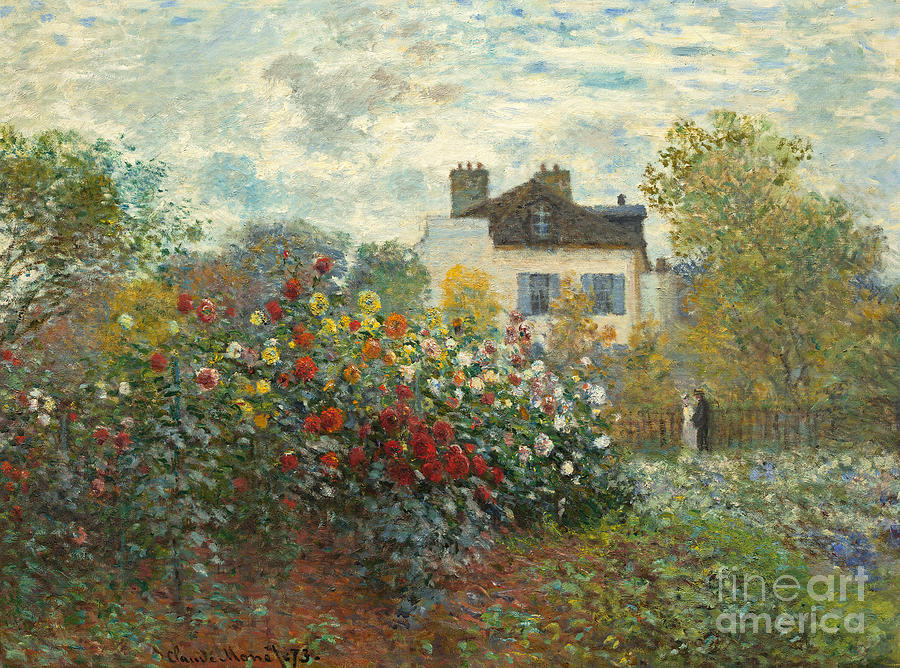 French Painting - A Corner of the Garden with Dahlias by Claude Monet
