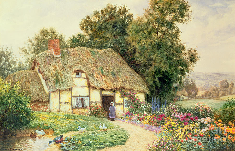 Cottage Painting - A Cottage By A Duck Pond by Arthur Claude Strachan
