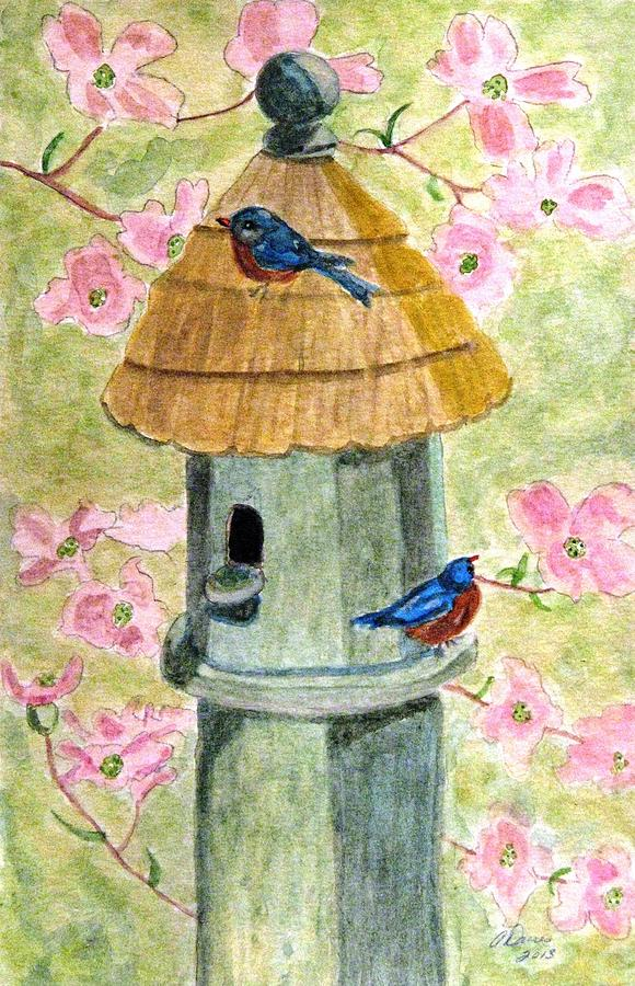 Birdhouses Painting - A Cottage For Two by Angela Davies