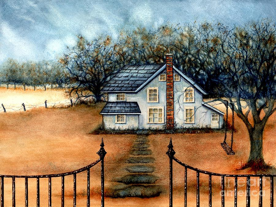 Folk Art Painting - A Country Home by Janine Riley