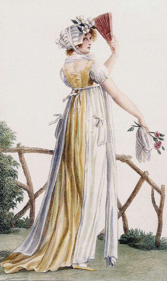 Fashion Drawing - A Country Style Ladies Dress by Pierre de La Mesangere