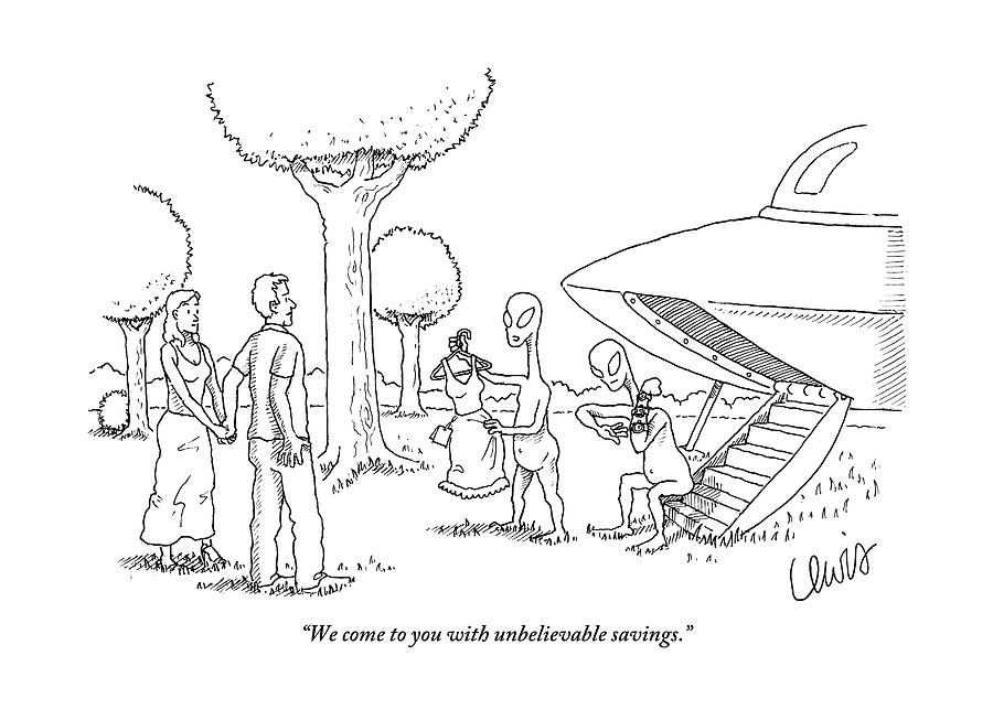Aliens Drawing - A Couple Are Accosted By Aliens Selling A Dress by Eric Lewis