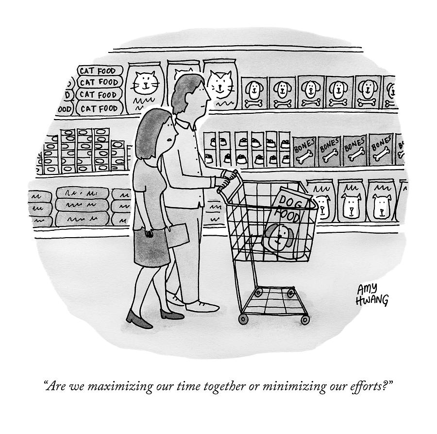 A Couple Buys Groceries Together Drawing by Amy Hwang
