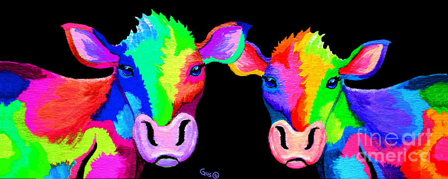 A Couple Colorful Cows Painting by Nick Gustafson