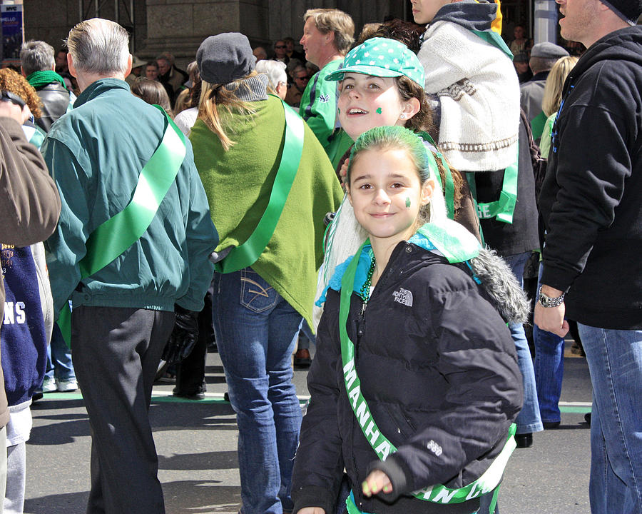 People Photograph - A Couple Girls Enjoying Themselves In The 2009 New York St. Patrick Day Parade by James Connor
