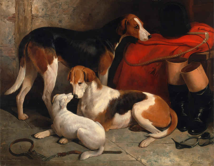 William Barraud Painting - A Couple Of Foxhounds With A Terrier The Property Of Lord Henry Bentinck by William Barraud