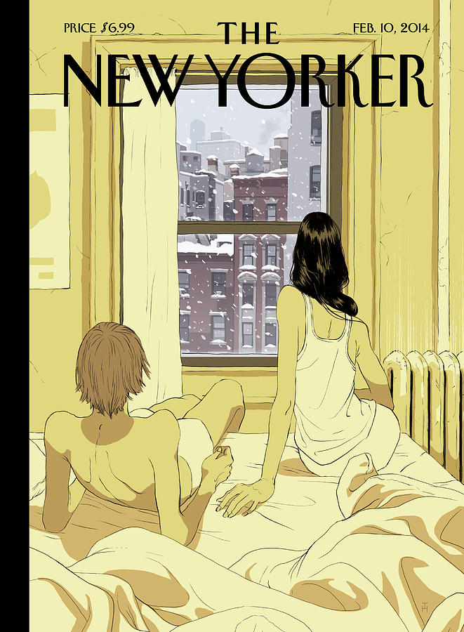 A Couple Stays In Bed While It Snows In The City Painting by Tomer Hanuka