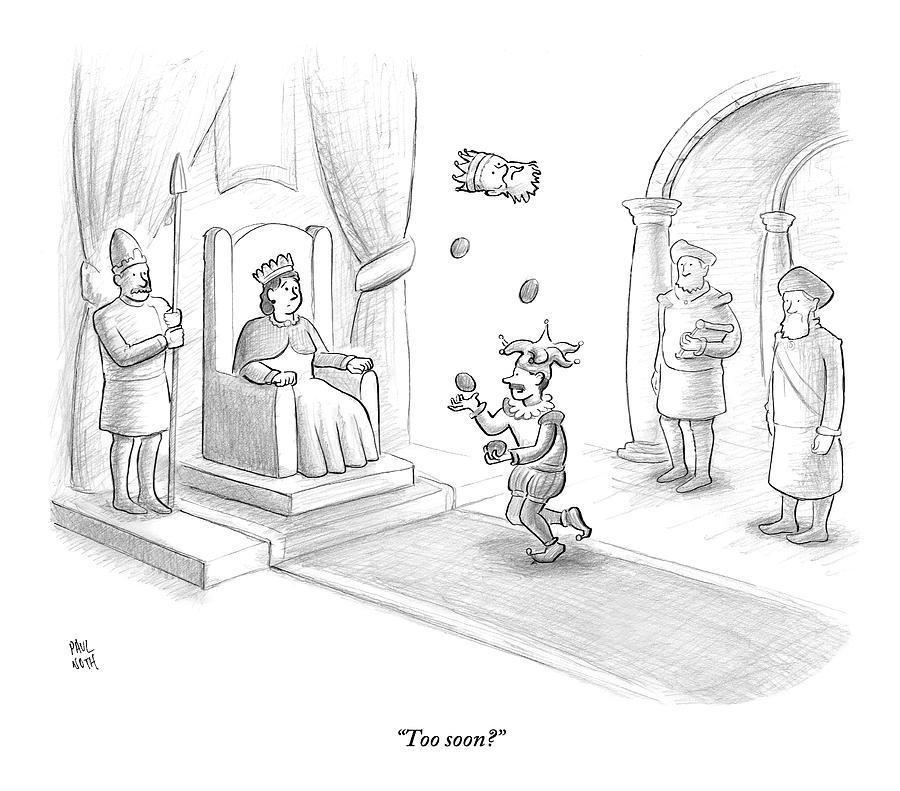 A Court Jester Juggles Balls And The Head Drawing by Paul Noth