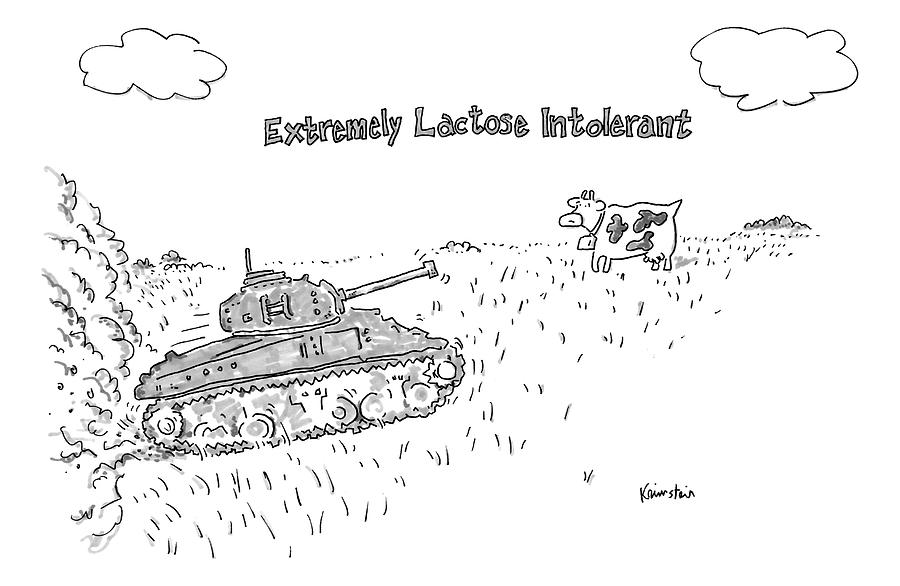 Lactose Intolerant Drawing - A Cow In A Pasture Watches As A Tank Approaches by Ken Krimstein
