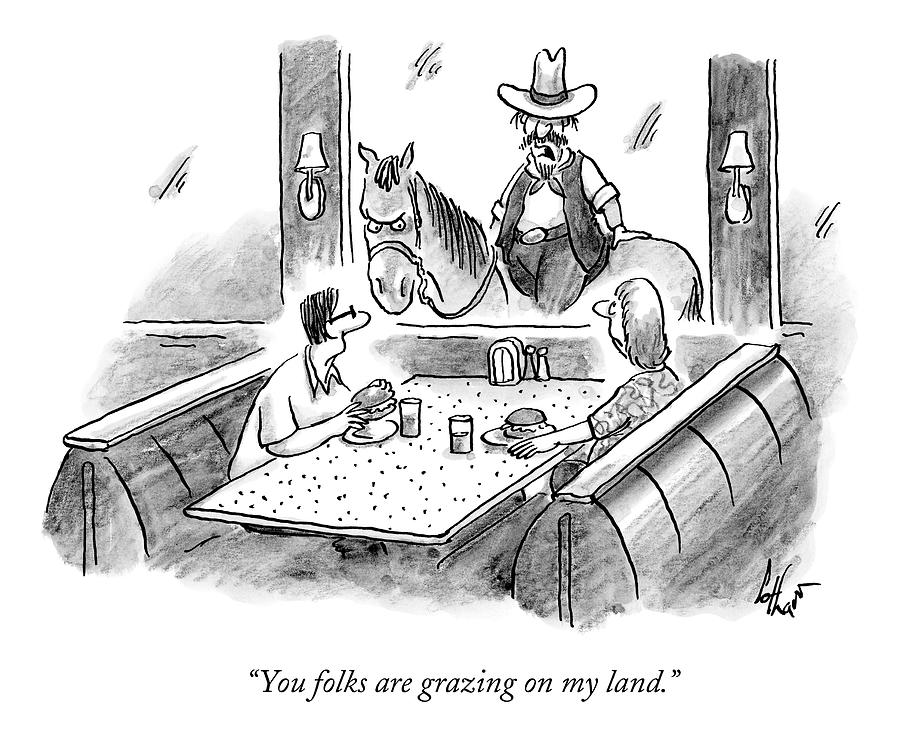 A Cowboy On A Horse Looks Into A Restaurant Drawing by Frank Cotham