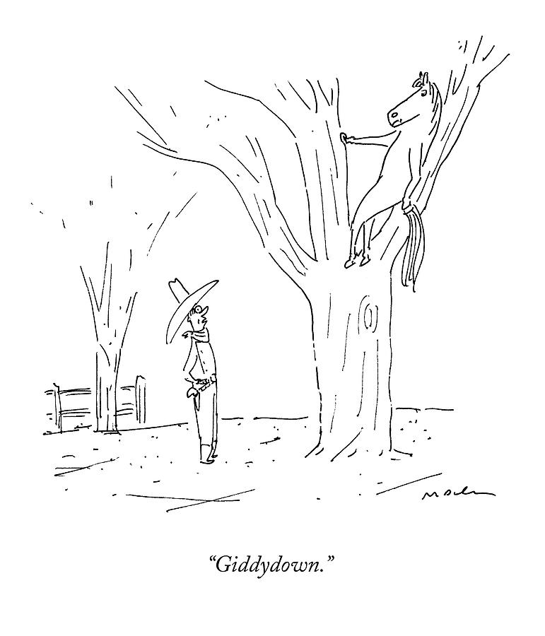 A Cowboy Talks To His Horse In A Tree Drawing by Michael Maslin