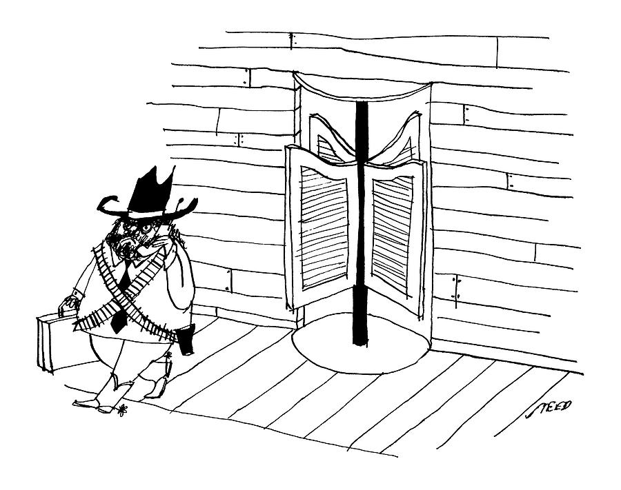 A Cowboy With A Briefcase Leaves An Office Drawing by Edward Steed