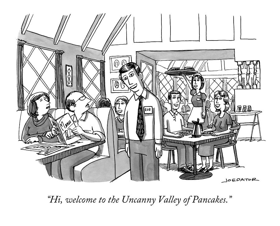 Uncanny Valley of Pancakes Drawing by Joe Dator