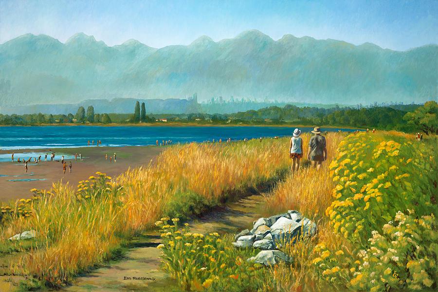 Landscape Painting - A Crescent Beach Stroll by Ewa Pluciennik