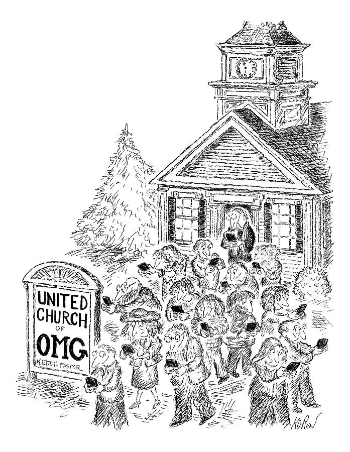 A Crowd Disperses Outside A Church Drawing by Edward Koren