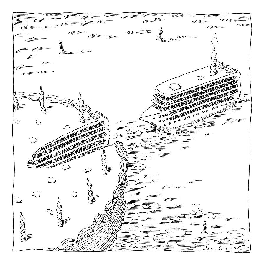 A Cruise Ship Shaped Like A Wedge Of Birthday Drawing by John OBrien