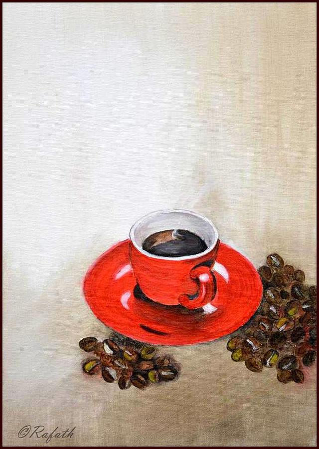 Coffee Painting - A Cup Of Coffee by Rafath Khan