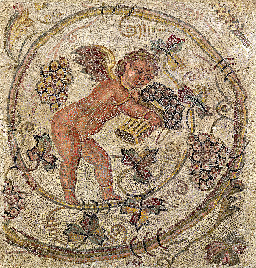Mosaic Photograph - A Cupid Picking Grapes, Fragment Of Pavement From Carthage, Tunisia Mosaic by Roman School