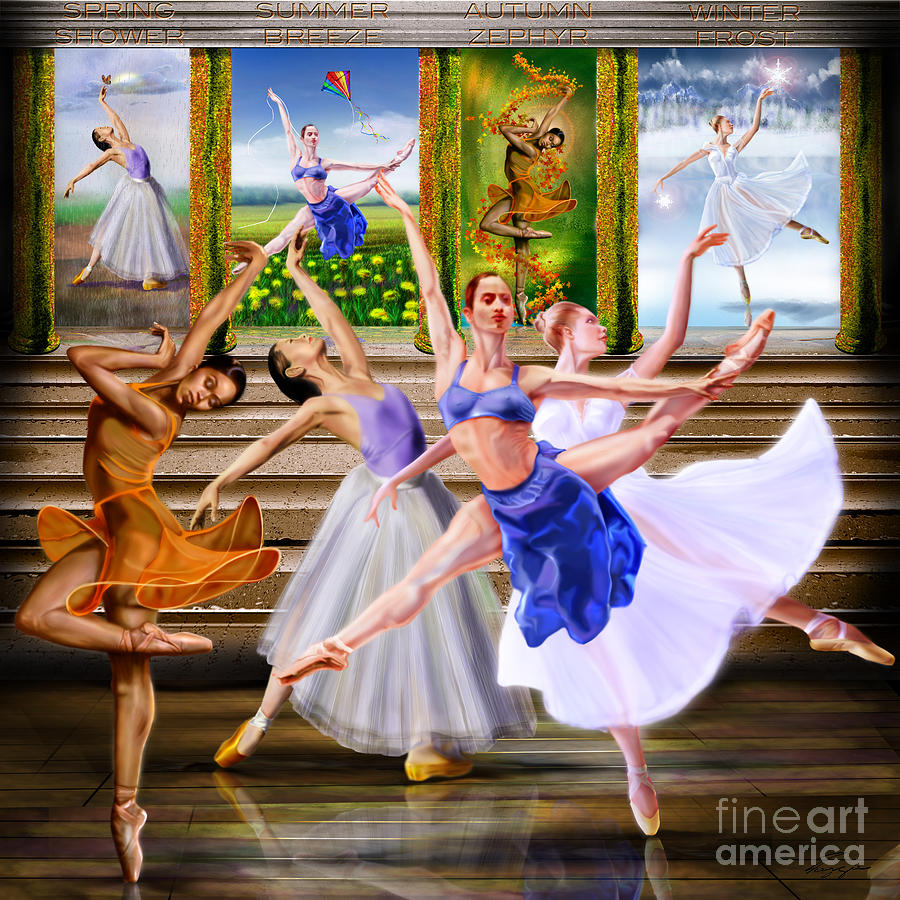 Ballet Dancers Painting - A Dance For All Seasons by Reggie Duffie