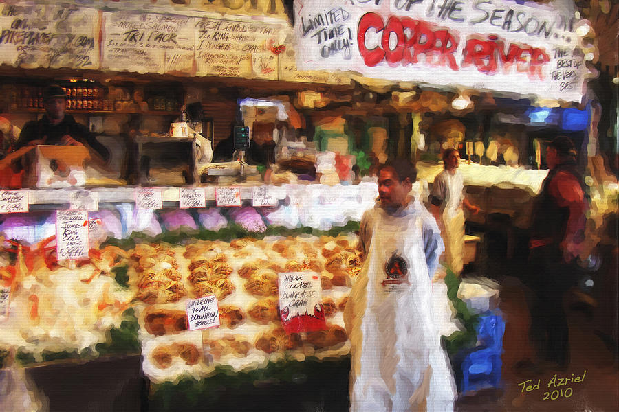 Crabs Painting - A Day At The Fish Market by Ted Azriel