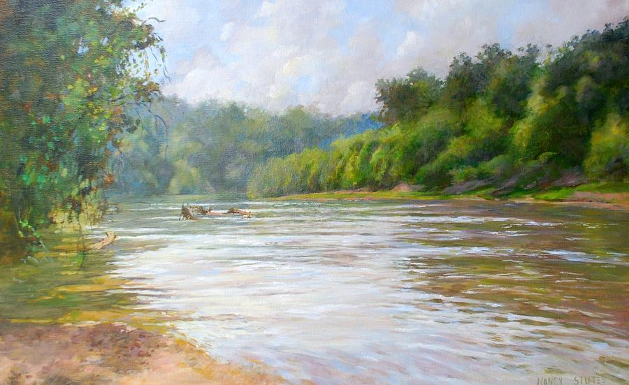 Landscapes Painting - A Day At The River  by Nancy Stutes