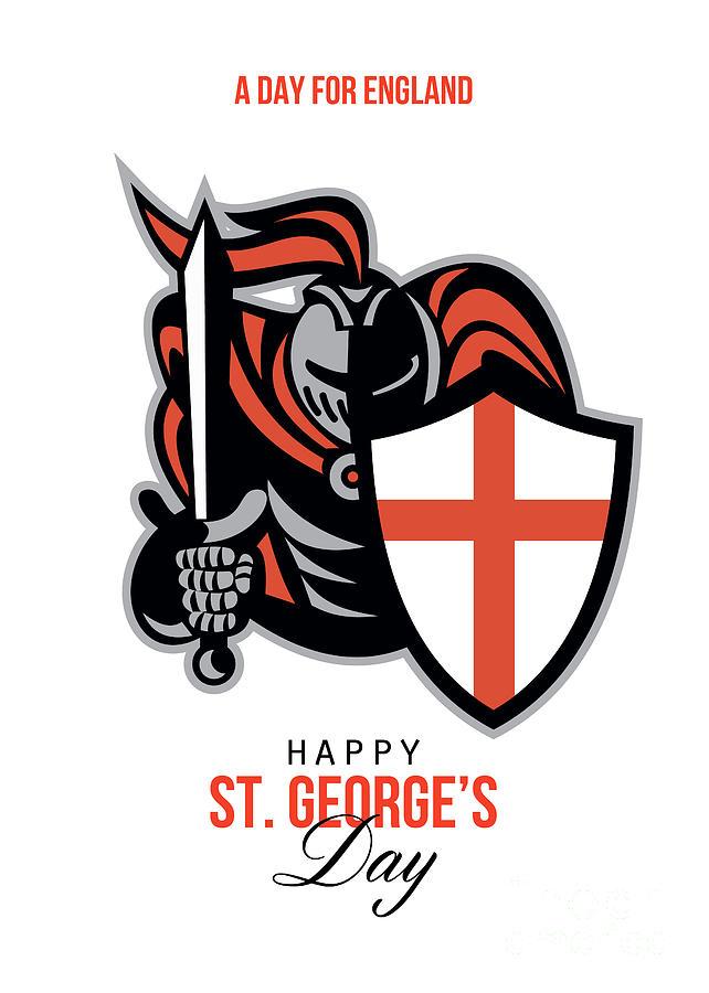 St George Digital Art - A Day For England Happy St George Greeting Card by Aloysius Patrimonio