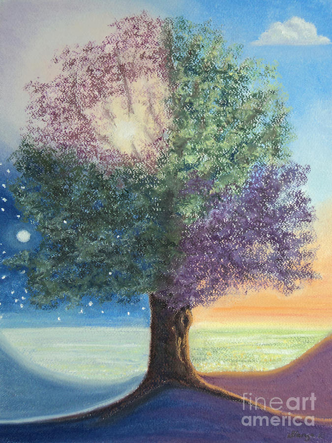 Tree Painting - A Day In The Tree Of Life by Stanza Widen