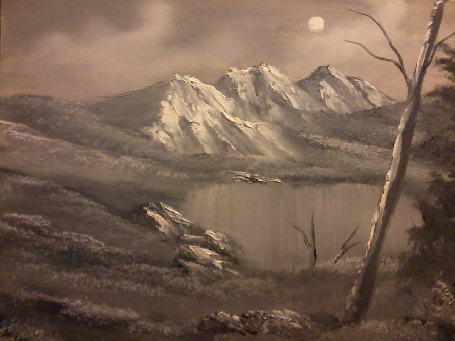 Black And White Painting - A Day In The Valley by Ricky Haug