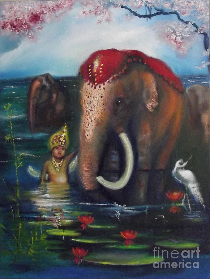 Elephant Painting - A Day Of Peace Together-  A.d.o.p.t. by Donna Chaasadah