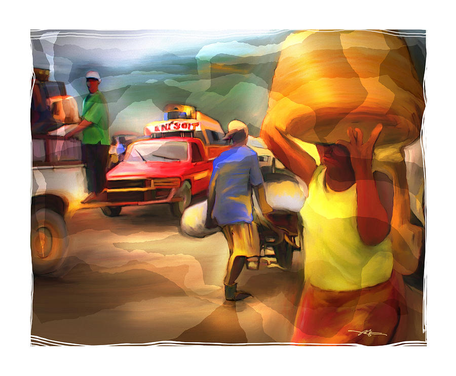 Busy Traffic Painting - A Days Work by Bob Salo