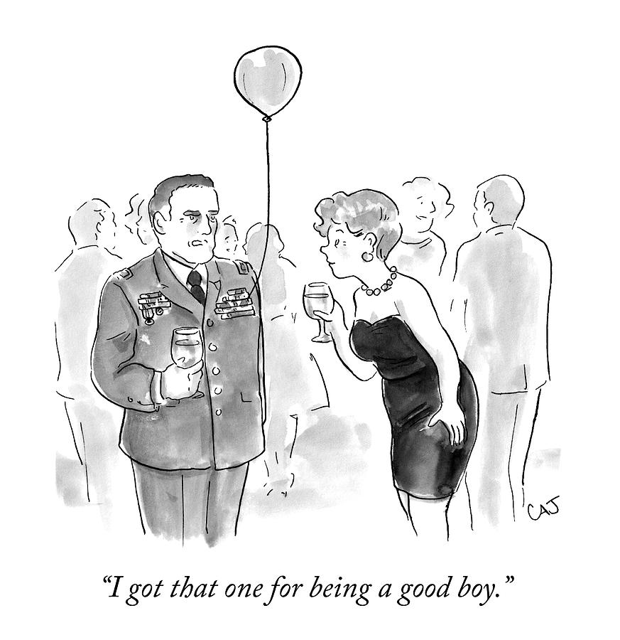 A Decorated Military Officer At A Cocktail Party Drawing by Carolita Johnson