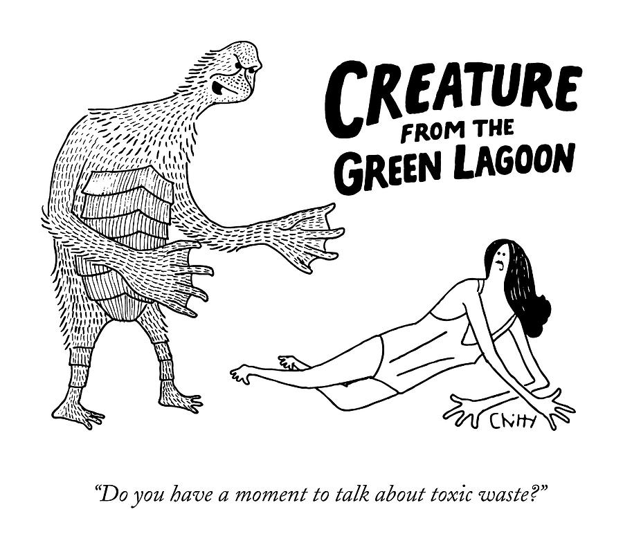 A Deformed Creature From The Green Lagoon Drawing by Tom Chitty