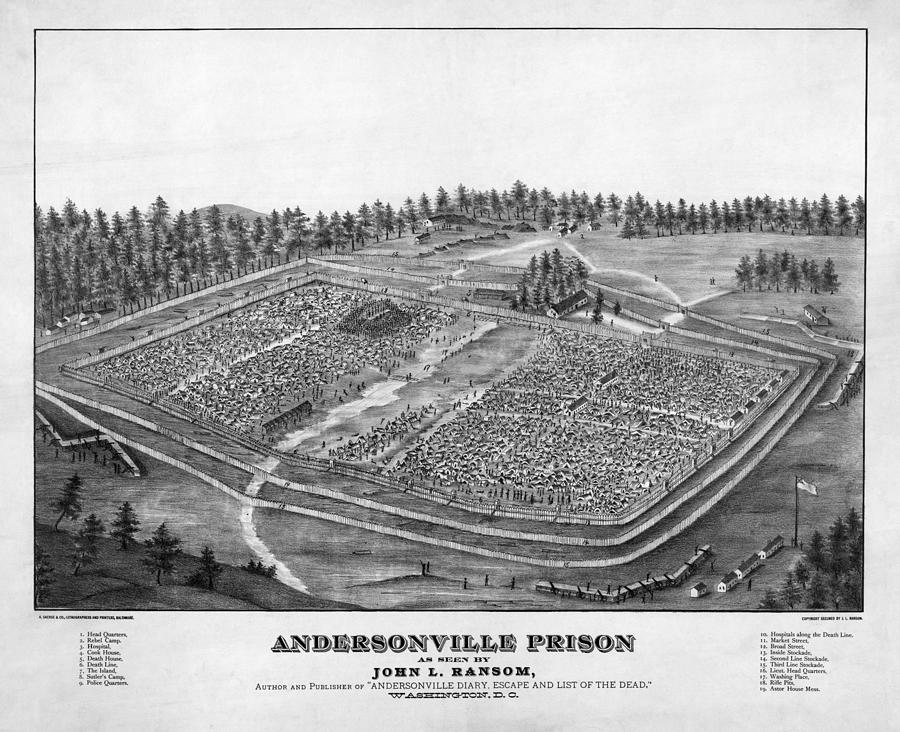 A Depiction Of Andersonville Prison Painting