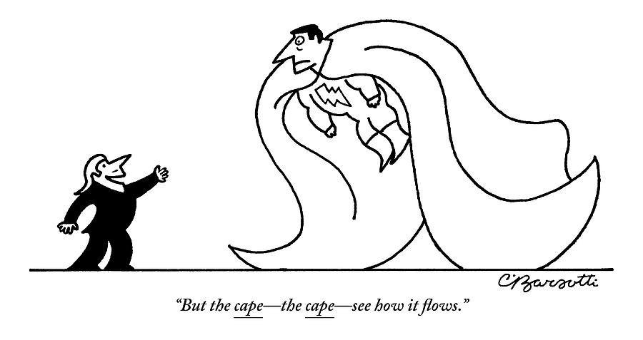 A Designer Applauds A Super Hero Drawing by Charles Barsotti