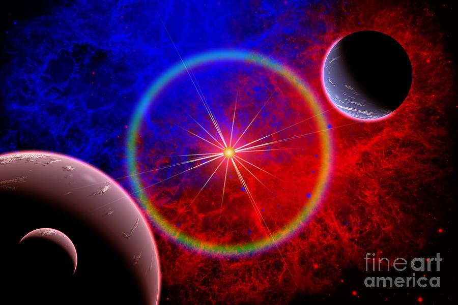 Horizontal Digital Art - A Distant Alien Star System by Mark Stevenson