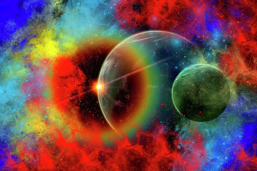 A Distant Alien World And Its Moon Digital Art by Mark Stevenson/stocktrek Images