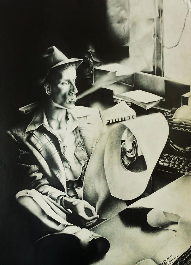 Celebrity Drawing Drawing - A Distorted Frank Sinatra by Carl Baker