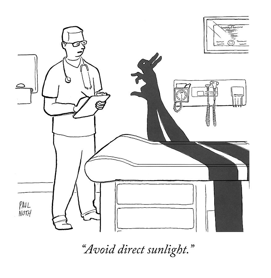 a doctor consults a shadow puppet of a rabbit drawing by paul noth