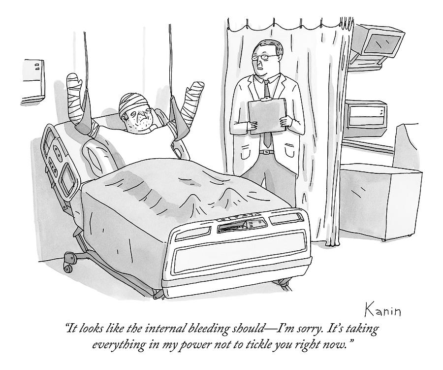 A Doctor In A Hospital Addresses His Patient Drawing by Zachary Kanin