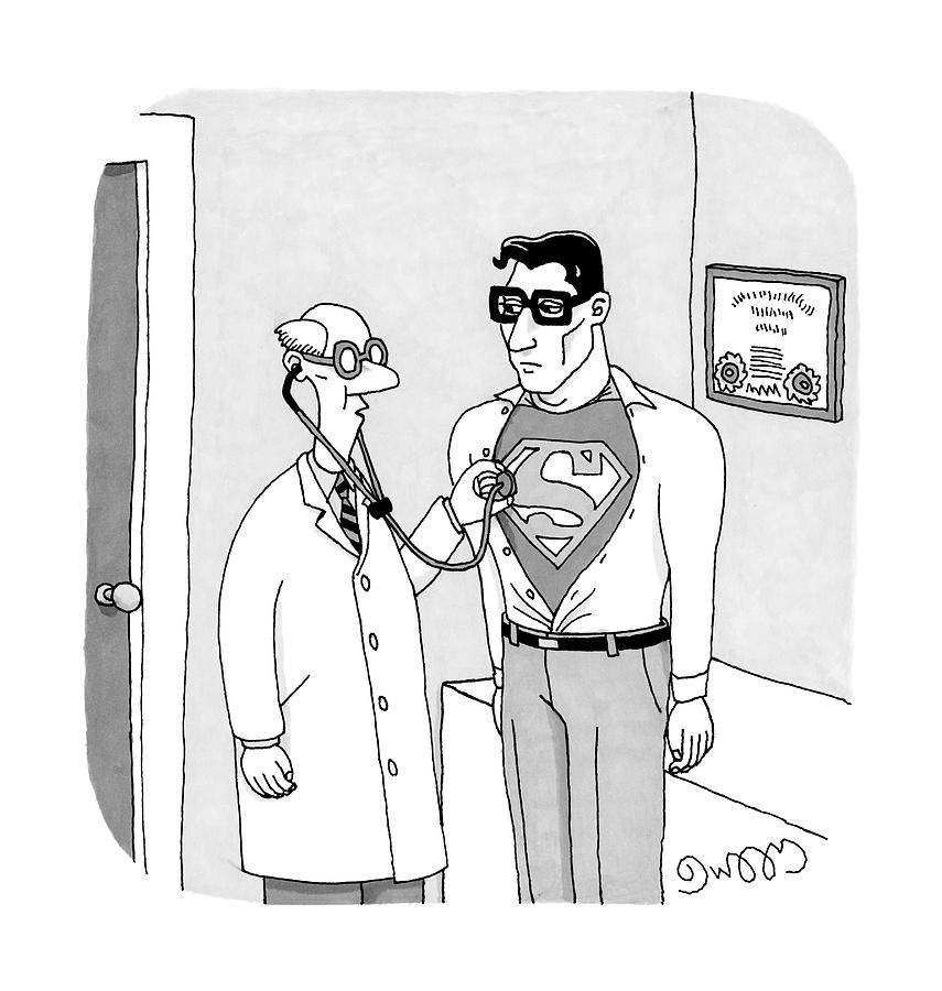 A Doctor Listens To Clark Kent S Heartbeat Drawing By J C Duffy