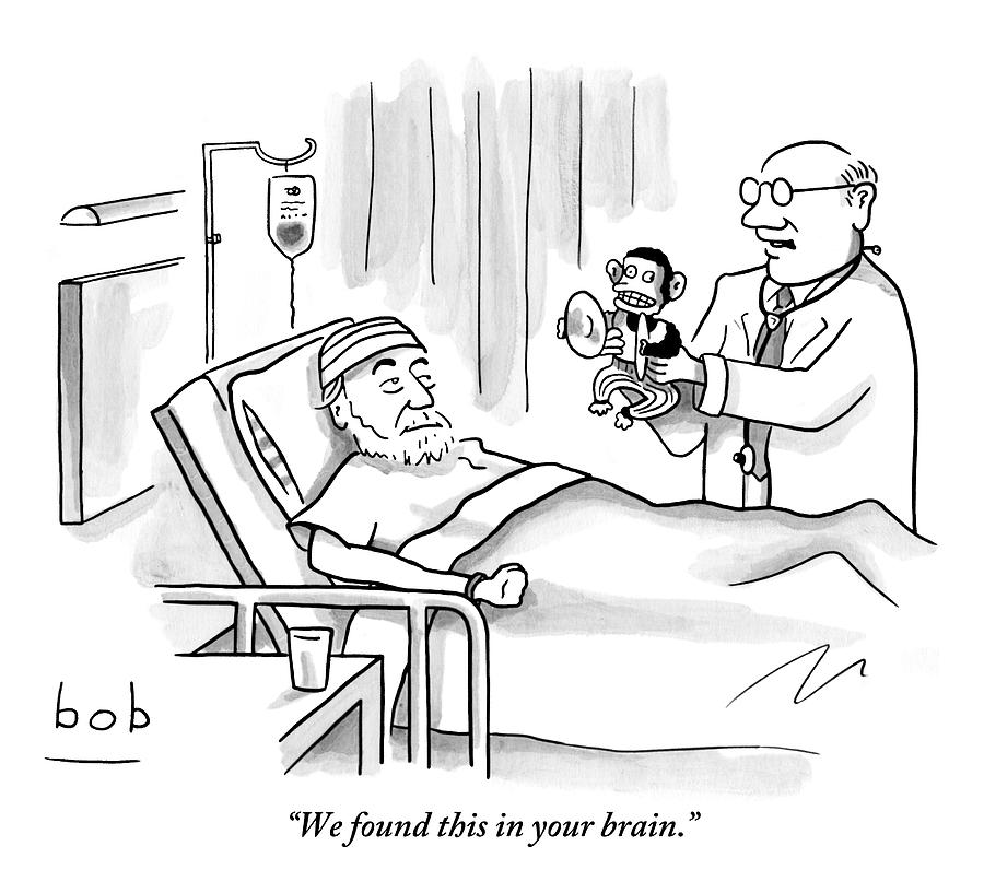 A Doctor Shows A Tambourine Monkey Toy Drawing by Bob Eckstein