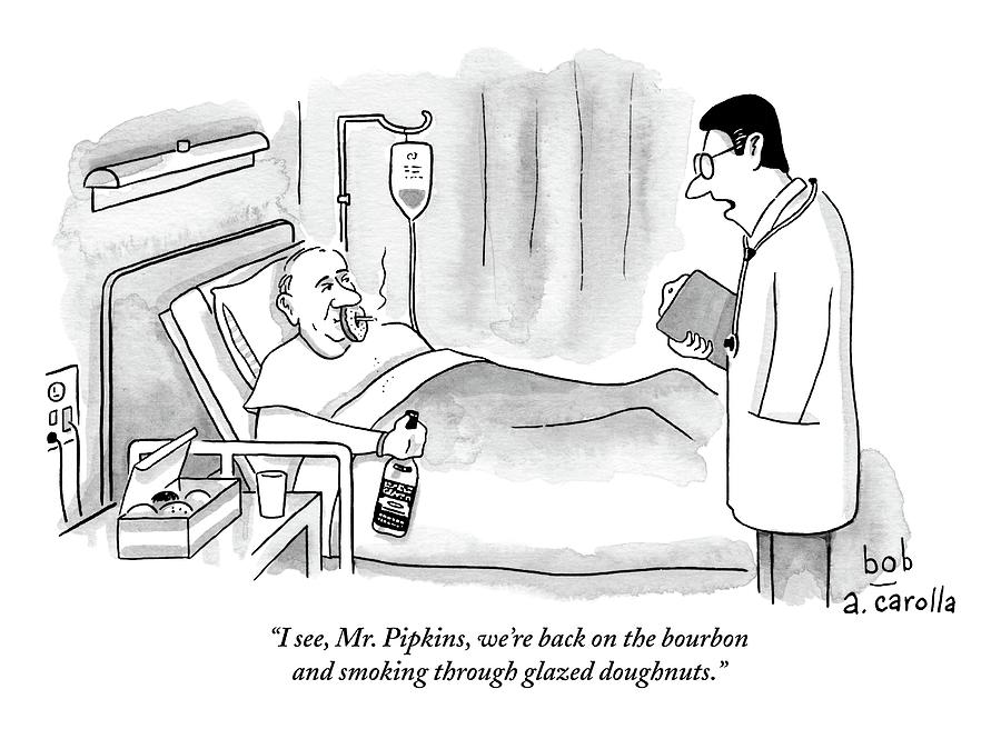 A Doctor Speaks To A Patient In A Hospital Bed Drawing by Bob Eckstein