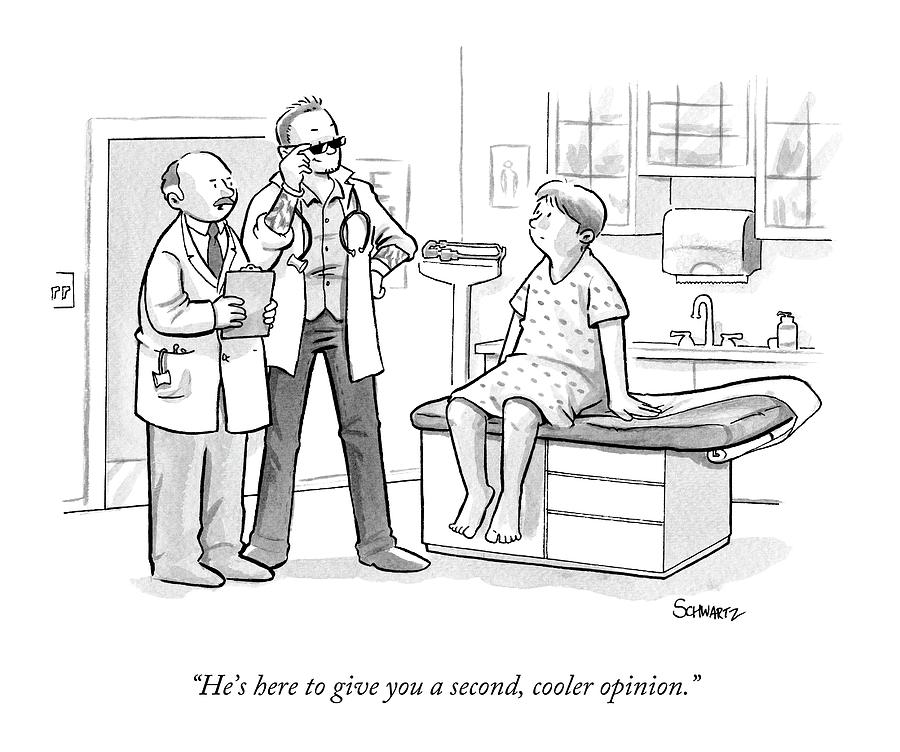 A Doctor Tells A Patient About A Hip-looking Drawing by Benjamin Schwartz