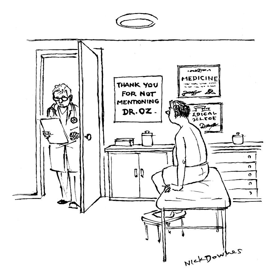 A Doctor Walks Into An Office Where A Patient Drawing by Nick Downes