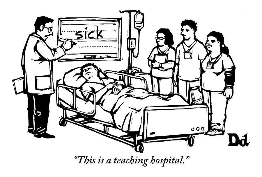 A Doctor Writes The Word Sick On A Blackboard Drawing by Drew Dernavich