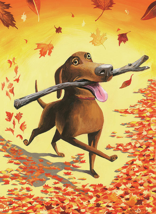 A Dog Carries A Stick Through Fall Leaves Digital Art by Mark Ulriksen