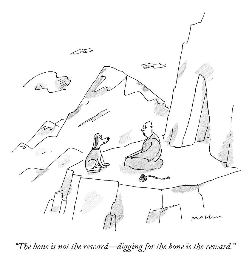 A Dog Speaks To A Guru On Top Of A Mountain Drawing by Michael Maslin