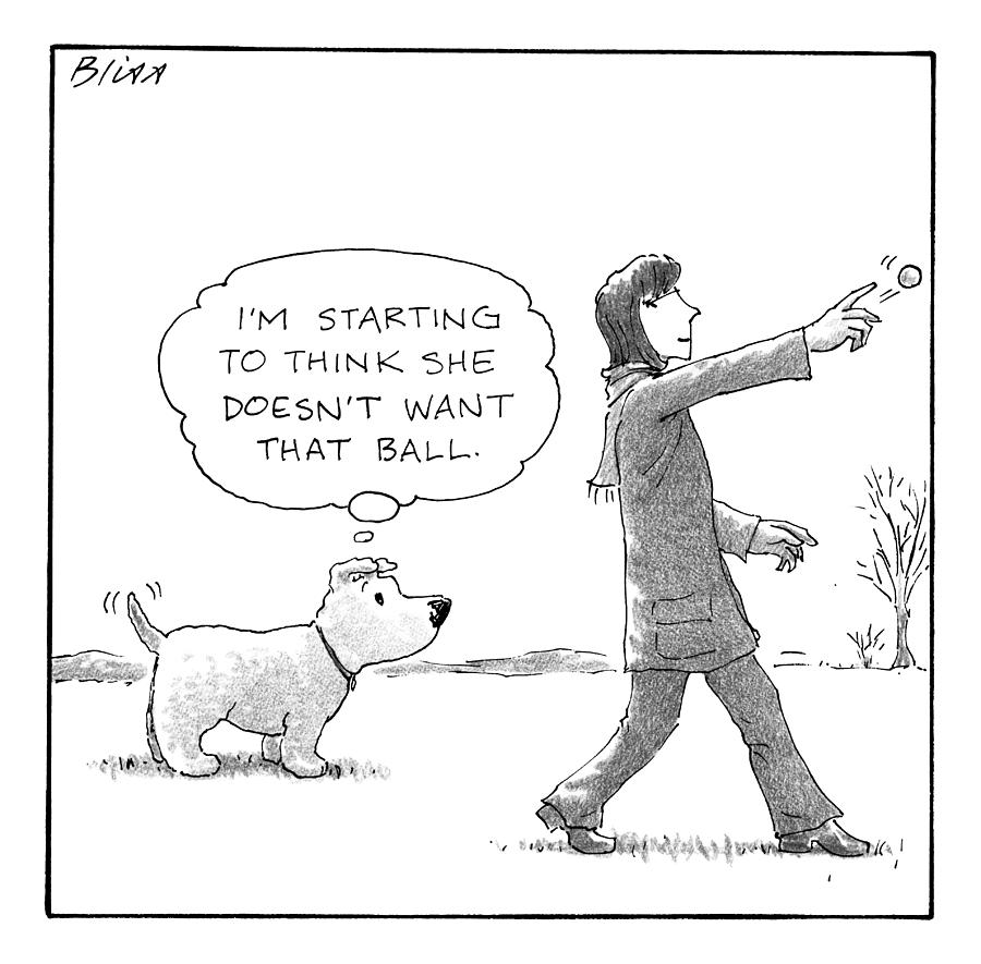A Dog Thinks To Himself As A Woman Throws A Ball Drawing by Harry Bliss