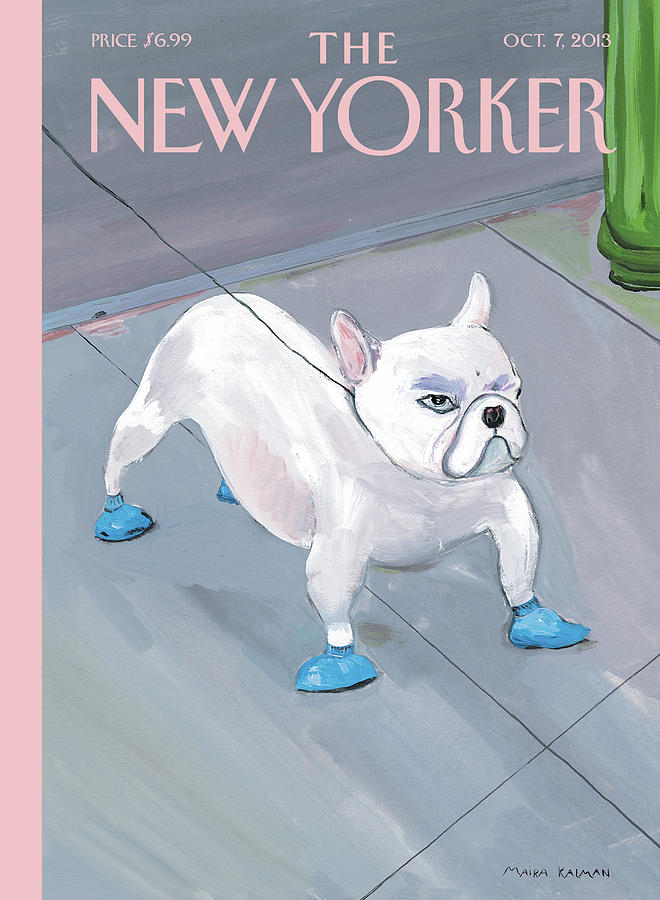 A Dog Wears Shoes On The City Sidewalk Painting by Maira Kalman