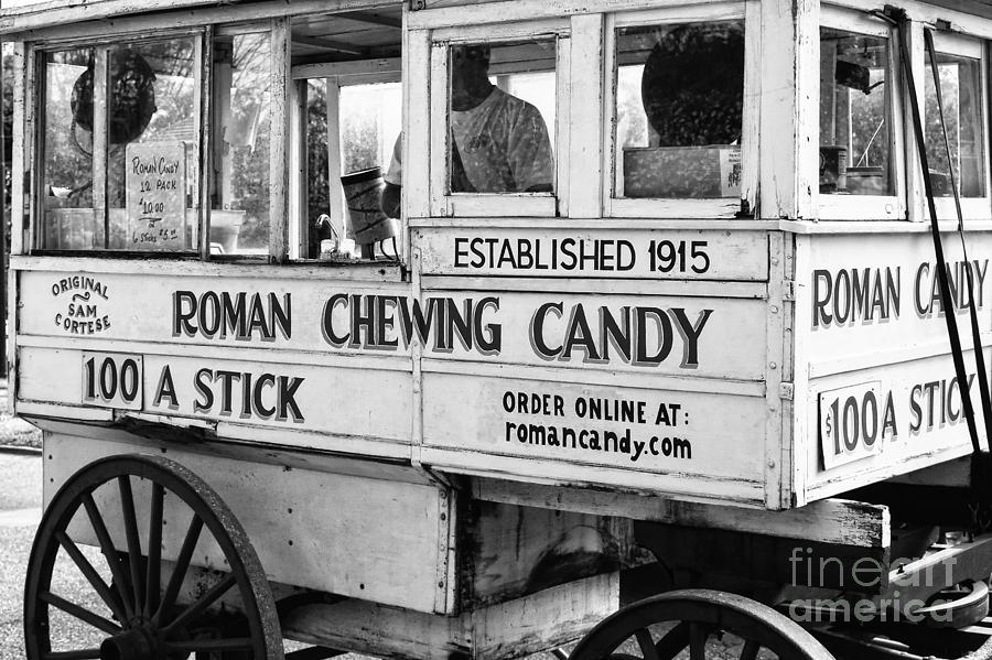 Roman Photograph - A Dollar A Stick Roman Chewing Candy In Bw by Kathleen K Parker